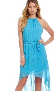 NWOT! JESSICA SIMPSON BLUE HALTER HIGH LOW DRESS